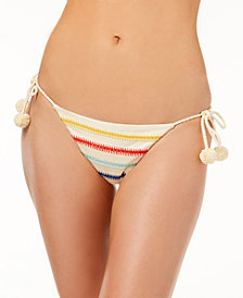Dolce Vita Embroidered Side-Tie Cheeky Bikini Bottoms