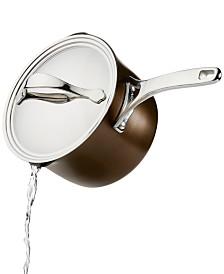 Anolon Nouvelle 3.5-Qt. Copper Luxe Sable Hard-Anodized Non-Stick Straining Saucepan