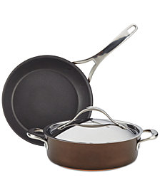 Anolon Nouvelle Copper Luxe Sable Hard-Anodized Nonstick 3-Pc. Cookware Set