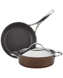 Anolon Nouvelle Copper Luxe Sable Hard-Anodized Nonstick 3-Pc. Cookware Set