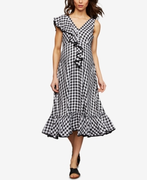 Vintage Style Maternity Clothes A Pea In The Pod Maternity Gingham Midi Dress $79.97 AT vintagedancer.com