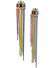 RACHEL Rachel Roy Gold-Tone Multi-Stone Beaded Fringe Drop Earrings
