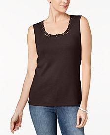 Karen Scott Studded Tank Top In Regular & Petite Sizes, Created  for Macy's