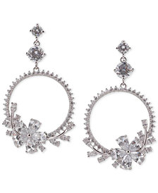 "Nina Silver-Tone Crystal Flower Drop 2-3/4"" Hoop Earrings"