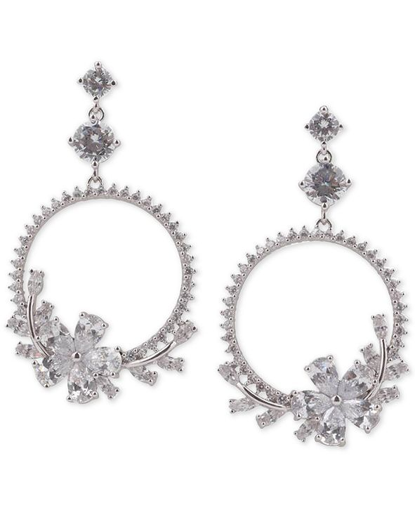 "Nina Silver-Tone Cubic Zirconia  Flower Drop 2-3/4"" Hoop Earrings"