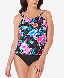 Swim Solutions Gracious High-Neck Tankini Top & Tummy-Control Bottoms, Created for Macy's