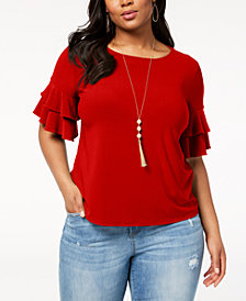 I.N.C. Plus Size Ruffle-Sleeve Top, Created for Macy's