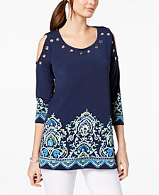 JM Collection Grommeted Cold-Shoulder Top, Created for Macy's