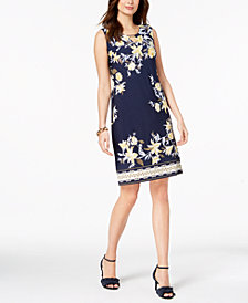 JM Collection Printed Keyhole Sheath Dress, Created for Macy's