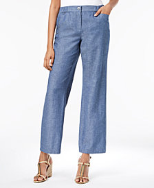 JM Collection Wide-Leg Chambray Pants, Created for Macy's