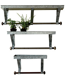 Galvanized Metal Wall Racks with Shelf & Rod, Set of 3