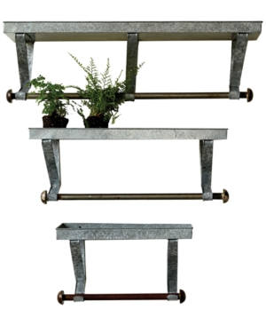 Galvanized Metal Wall Racks with Shelf  Rod Set of 3