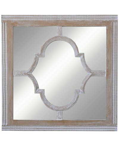 Square Wood & Glass Wall Mirror
