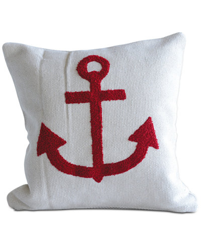 18'' Square Cotton Pillow with Embroidered Anchor