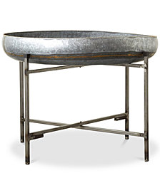 Galvanized Metal Tray Table with Metal Stand