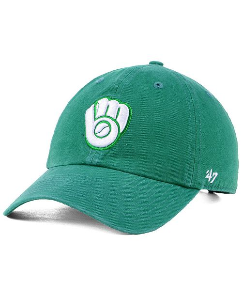 47 Brand Milwaukee Brewers Kelly White CLEAN UP Cap - Sports Fan ... 9fcf8ebfd94d