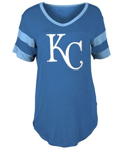 5th & Ocean Women's Kansas City Royals Sleeve Stripe Relax T-Shirt