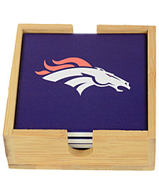 Memory Company Denver Broncos 4-Pack Square Coaster With Caddy Set