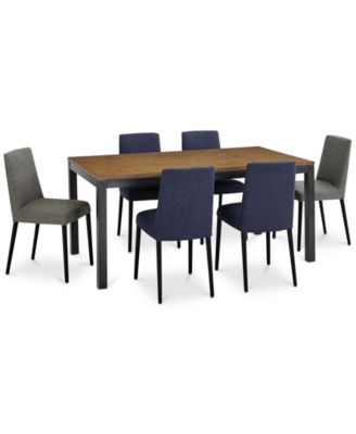 Gatlin Dining Furniture, 7-Pc. Set (Dining Table, 4 Blue Dining Chairs & 2 Charcoal Dining Chairs), Created for Macy's