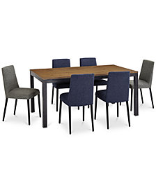 Gatlin Dining Furniture, 7-Pc. Set (Dining Table, Blue & Charcoal Dining Chairs), Created for Macy's