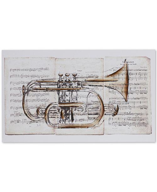 JLA Home Madison Park Brass Trumpet Hand-Embellished Canvas Print