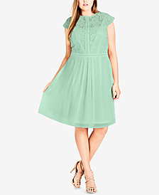 City Chic Trendy Plus Size Lace-Bodice Illusion Dress