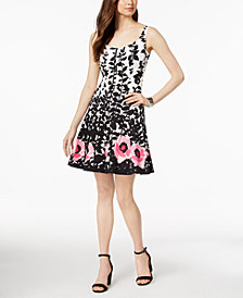 Nine West Floral-Print Fit & Flare Dress