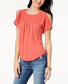 Lucky Brand Lace Cold-Shoulder Top