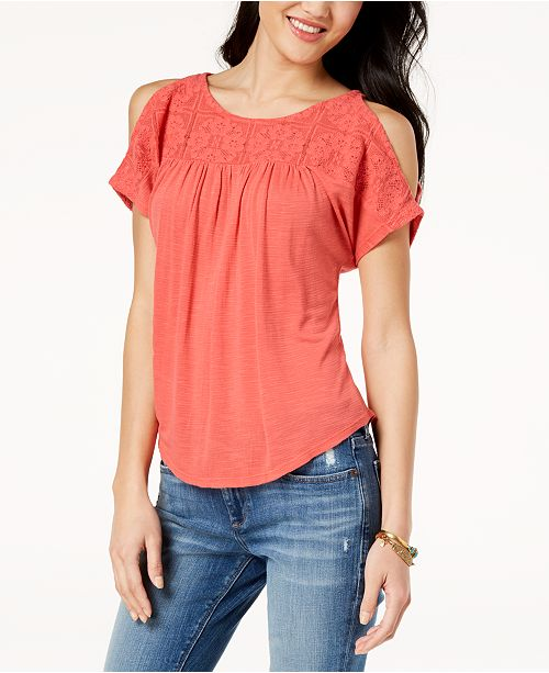 d2cc9877f537d Lucky Brand Lace Cold-Shoulder Top   Reviews - Tops - Women ...