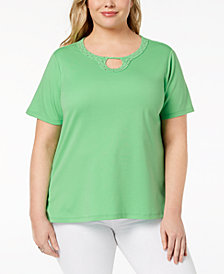Alfred Dunner Plus Size Embellished-Neck Top