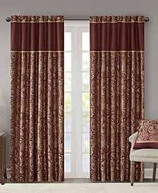 "Madison Park Aubrey 50"" x 95"" Paisley Jacquard Faux-Silk Rod Pocket/Back Tab Curtain Panel Pair"