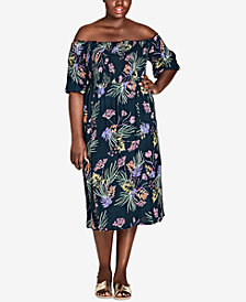 City Chic Trendy Plus Size Exotic Off-The-Shoulder Midi Dress