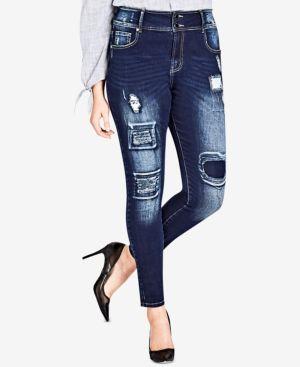 Trendy Plus Size Harley Patched Skinny Jeans, Dark Indigo