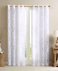 "Madison Park Averil 50"" x 95"" Sheer Burnout Bird Grommet Curtain Panel"