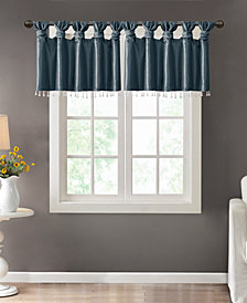 "Madison Park Emilia 50"" x 26"" Lined Faux-Silk Twisted Tab Curtain Valance"