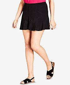 City Chic Trendy Plus Size Flounce-Hem Shorts