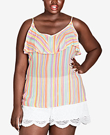City Chic Trendy Plus Size Striped Ruffle Tank
