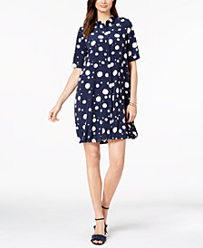 Alfani Printed Bungee-Hem Shirtress, Created for Macy's