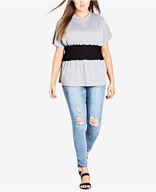 City Plus Size Chic Shirred Top Grey Waist Trendy ErCrwq