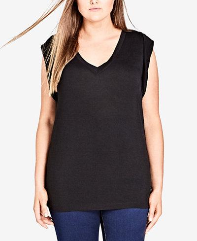 City Chic Trendy Plus Size Cotton V-Neck Top