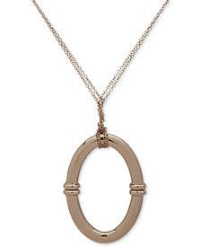 """Lauren Ralph Lauren Gold-Tone Oval Link Pendant Necklace, 36"""" + 3"""" extender"""