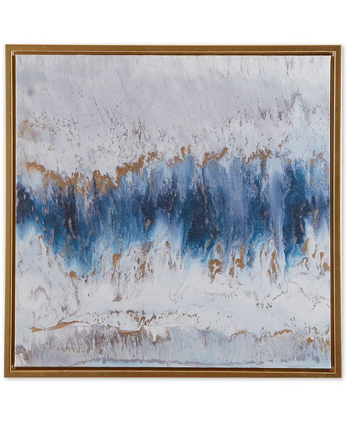 JLA Home - Madison Park Blue Embrace Framed Gel-Coated Canvas Print with Gold-Tone Foil