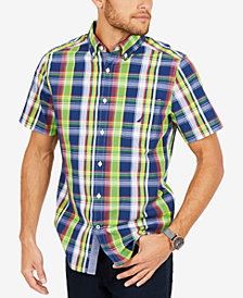 Nautica Men's Classic-Fit Plaid Pocket Short Sleeve Shirt