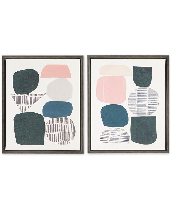 JLA Home - Grey Rock Garden 2-Pc. Framed Gel-Coated Canvas Print Set