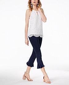I.N.C. Lace Keyhole Top & Flared-Hem Capri Pants, Created for Macy's