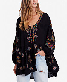 Free People Arianna Embroidered Blouson-Sleeve Tunic