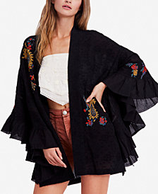 Free People Dottie West Embroidered Ruffled Kimono