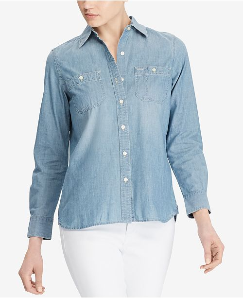 04bf4001e Lauren Ralph Lauren Cotton Button-Down Shirt & Reviews - Tops ...