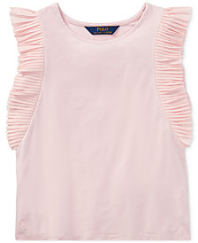 Polo Ralph Lauren Flutter-Sleeve Top, Big Girls