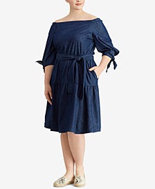 Lauren Ralph Lauren Plus Size Fit & Flare Denim Cotton Dress